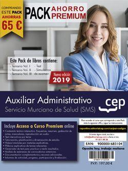 PACK AHORRO PREMIUM. Auxiliar Administrativo. Servicio Murciano de Salud (Incluye Temario Vol.I, II y III, Test y Simulacros y curso premium online 6 meses)