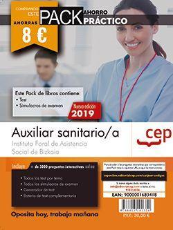 PACK AHORRO PRÁCTICO. Auxiliar sanitario/a. Instituto Foral de Asistencia Social de Bizkaia. (Incluye Test y Simulacros y Acceso a 3000 preguntas interactivas en CEP Online)