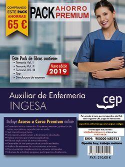 PACK AHORRO PREMIUM. Auxiliar de Enfermería. INGESA (Incluye Temario Vol.I, II y III, Test y Simulacros y Curso Premium Online 6 meses)