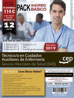 PACK AHORRO BÁSICO. Técnico/a en Cuidados Auxiliares de Enfermería. Servicio Murciano de Salud. SMS (Incluye Temario Vol.I, II, III y IV, Test y Simulacros y curso básico online)