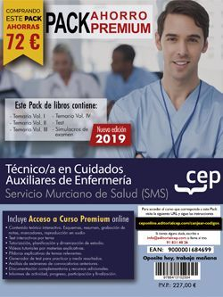 PACK AHORRO PREMIUM. Técnico/a en Cuidados Auxiliares de Enfermería. Servicio Murciano de Salud. SMS (Incluye Temario Vol.I, II, III y IV Test y Simulacros y curso premium online 6 meses)