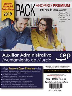 PACK AHORRO PREMIUM. Auxiliar Administrativo. Ayuntamiento de Murcia (incluye Temario Vol I y II, Test y Simulacros y Curso premium online 6 meses) (EDICIÓN ESPECIAL COLECTIVOS)