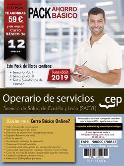 PACK AHORRO BÁSICO.  Operario de servicios. Servicio de Salud de Castilla y León (SACYL) (Incluye Temarios Vol. I y II, Test y Simulacros + Curso Básico online)