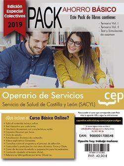 PACK AHORRO BÁSICO.  Operario de servicios. Servicio de Salud de Castilla y León (SACYL) (Incluye Temarios Vol. I y II, Test y Simulacros + Curso Básico online) (EDICIÓN ESPECIAL COLECTIVOS)