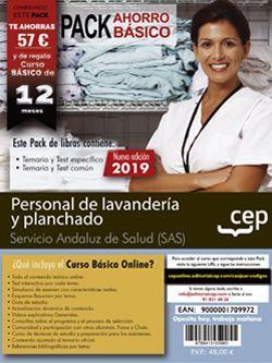 PACK AHORRO BÁSICO.  Personal de lavandería y planchado. Servicio Andaluz de Salud (SAS) (Incluye Temarios y Test común y específico + Curso Básico online)