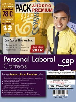 PACK AHORRO PREMIUM. Personal Laboral. Correos. (Incluye Temarios Vol. I y II, Test, Simulacros Y Psicotécnicos + Curso Premium Online 12 meses)