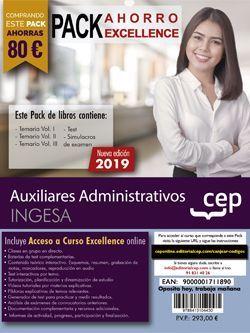 PACK AHORRO EXCELLENCE. Auxiliares Administrativos. INGESA. (Incluye Temarios Vol. I, II y III, Test y Simulacros + Curso Excellence 6 meses)