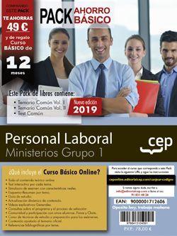 PACK BÁSICO. Personal Laboral Ministerios. Grupo 1 (Incluye Temarios Vol. I y II, Test,  + Curso Básico)