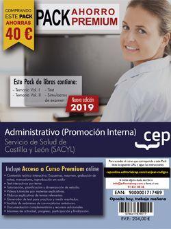 PACK AHORRO PREMIUM. Administrativo (promoción interna). Servicio de Salud de Castilla y León (SACYL). (Incluye Temarios I, II, Test, Simulacros de Examen y Curso Premium 6 Meses on Line)