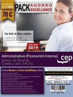 PACK AHORRO EXCELLENCE. Administrativo (promoción interna). Servicio de Salud de Castilla y León (SACYL). (Incluye Temarios I, II, Test, Simulacros de Examen y Curso Excellence 6 Meses on Line)