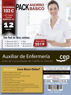 PACK AHORRO BÁSICO. Auxiliar de Enfermería. Junta de Comunidades de Castilla-La Mancha. (Incluye Temarios Vol. I, II y III, Test y Simulacros de Examen + Curso Básico valorado en 79 euros)