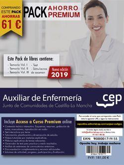 PACK AHORRO PREMIUM. Auxiliar de Enfermería. Junta de Comunidades de Castilla-La Mancha. (Incluye Temarios Vol. I, II y III, Test y Simulacros de Examen + Curso Premium 6 meses)