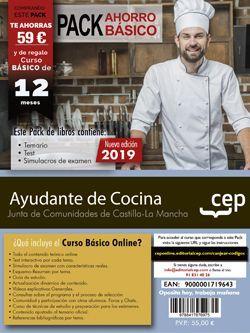 PACK AHORRO BÁSICO. Ayudante de Cocina. Junta de Comunidades de Castilla-La Mancha. (Incluye Temario, Test y simulacros + Curso Básico Online valorado en 45 euros)