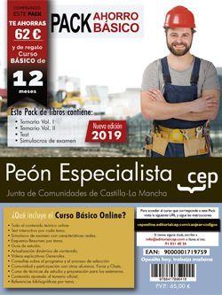 PACK AHORRO BÁSICO. Peón Especialista. Junta de Comunidades de Castilla La Mancha. (Incluye Temario Vol.I y Vol. II, Test y Simulacros de examen + Curso Básico valorado en 45 euros)