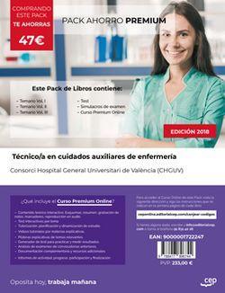 PACK AHORRO PREMIUM. Técnico/a en cuidados auxiliares de enfermería. Consorci Hospital General Universitari de València (CHGUV). (Incluye Temarios I, II, III, Test y Simulacros + Curso Premium 6 meses)