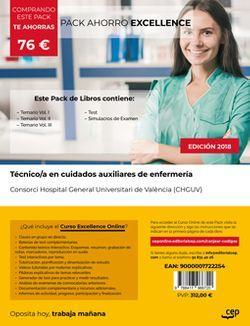 PACK AHORRO EXCELLENCE. Técnico/a en cuidados auxiliares de enfermería. Consorci Hospital General Universitari de València (CHGUV). (Incluye Temarios I, II, III, Test y Simulacros + Curso Excellence 6 meses)