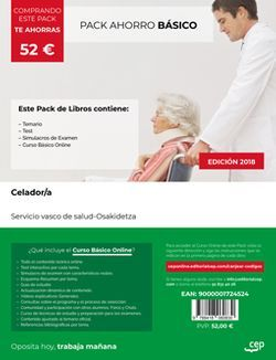 PACK BÁSICO. Celador/a. Servicio vasco de salud-Osakidetza (Incluye Temario, Test y Simulacros de examen + Curso Básico 12 meses)