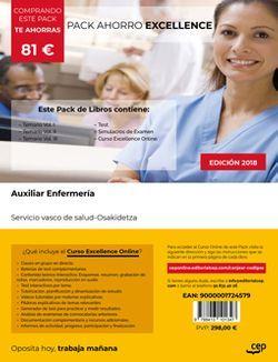 PACK AHORRO EXCELLENCE. Auxiliar de Enfermería. Servicio vasco de salud-Osakidetza (Incluye Temario, Test y Simulacros de examen + Curso Excellence 6 meses)