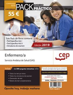 PACK AHORRO PRÁCTICO. Enfermeras/os Servicio Andaluz de Salud (SAS). (Incluye Test Vol I y II y Simulacros + Curso Práctico)