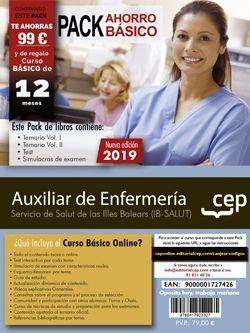 PACK AHORRO BÁSICO. Auxiliar de Enfermería. Servicio de Salut de las Illes Balears. IB-SALUT (Incluye Temario Vol.I y II, Test y Simulacros de Examen + Curso Básico valorado en)