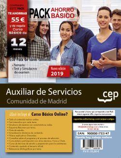 PACK BÁSICO. Auxiliar de Servicios (personal laboral). Comunidad de Madrid (Incluye Temario, Test y Simulacros de examen + Curso Básico valorado en 45€)