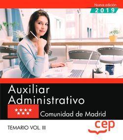 Auxiliar Administrativo. Comunidad de Madrid. Temario. Vol.III