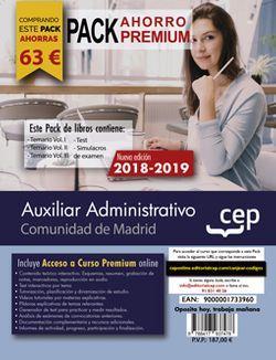 PACK AHORRO PREMIUM. Auxiliar Administrativo. Comunidad de Madrid. (Incluye Temarios Vol. I, II y III, Test y Simulacros + Curso Premium Online 6 meses)