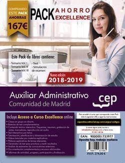 PACK AHORRO EXCELLENCE. Auxiliar Administrativo. Comunidad de Madrid. (Incluye Temarios Vol. I, II y III, Test y Simulacros + Curso Excellence Online 6 meses)