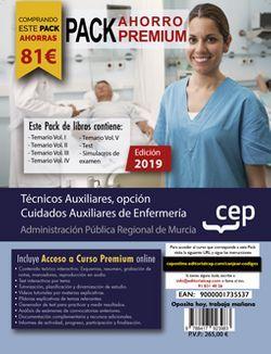 PACK AHORRO PREMIUM. Técnicos Auxiliares, opción Cuidados Auxiliares de Enfermería de la Administración Pública Regional de Murcia. (Incluye Vol. I, II, III, IV y V, Test y Simulacros de Examen + Curso Premium Online de 6 meses)