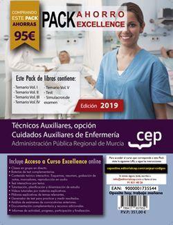 PACK AHORRO EXCELLENCE. Técnicos Auxiliares, opción Cuidados Auxiliares de Enfermería de la Administración Pública Regional de Murcia. (Incluye Vol. I, II, III, IV y V, Test y Simulacros de Examen + Curso Excellence Online de 6 meses)