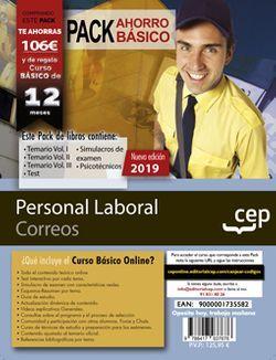 PACK AHORRO BÁSICO. Personal Laboral. Correos (Incluye Vol.I, II y III, Test, Simulacros de examen y Psicotécnicos + Curso Básico Online valorado en 52€)