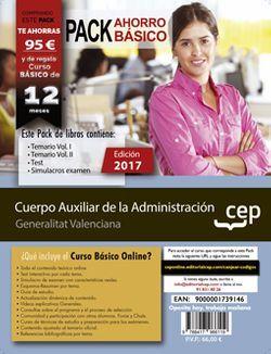 PACK AHORRO BÁSICO. Cuerpo Auxiliar de la Administración. Generalitat Valenciana (Incluye Temario Vol. I y II, Test y Simulacros de examen + Curso Básico Online)