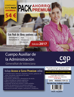 PACK AHORRO PREMIUM. Cuerpo Auxiliar de la Administración. Generalitat Valenciana (Incluye Temario Vol. I y II, Test y Simulacros de examen + Curso Premium Online)