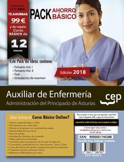 PACK AHORRO BÁSICO. Auxiliar de Enfermería. Administración del Principado de Asturias. (Incluye Temario Vol. I y II, Test y Simulacros de Examen + Curso BÁSICO online valorado en 79€)