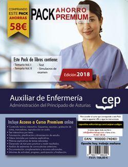 PACK AHORRO PREMIUM. Auxiliar de Enfermería. Administración del Principado de Asturias. (Incluye Temario Vol. I y II, Test y Simulacros de Examen + Curso PREMIUM 6 meses)