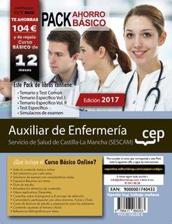 PACK AHORRO BÁSICO. Auxiliar de Enfermería. Servicio de Salud de Castilla-La Mancha (SESCAM). (Incluye Temario y Test común, Temario específico Vol.I y II , Test específico y Simulacros + Curso BÁSICO Online valorado en 79€)