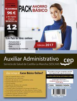 PACK AHORRO BÁSICO. Auxiliar Administrativo. Servicio de Salud de Castilla-La Mancha (SESCAM). (Incluye Temario Vol.I y II , Test y Simulacros + Curso BÁSICO Online valorado en 79€)