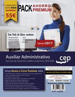 PACK AHORRO PREMIUM. Auxiliar Administrativo. Servicio de Salud de Castilla-La Mancha (SESCAM). (Incluye Temario Vol.I y II , Test y Simulacros + Curso PREMIUM Online 6 meses)