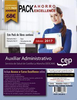 PACK AHORRO EXCELLENCE. Auxiliar Administrativo. Servicio de Salud de Castilla-La Mancha (SESCAM). (Incluye Temario Vol.I y II , Test y Simulacros + Curso EXCELLENCE Online 6 meses)
