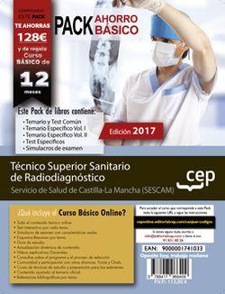 PACK AHORRO BÁSICO. Técnico Superior Sanitario de Radiodiagnóstico. Servicio de Salud de Castilla-La Mancha (SESCAM) (Incluye Temario y test común, Temario Específico Vol. I. y Vol.II, Test específicos y Simulacros de Examen +  Curso BÁSICO Online)