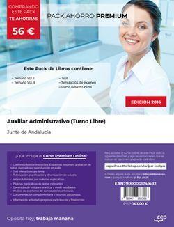 PACK AHORRO PREMIUM. Auxiliar Administrativo (Turno Libre). Junta de Andalucía (Incluye Vol. I, II, Test y Simulacros + Curso PREMIUM Online 6 meses)
