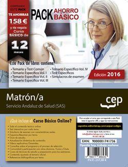 PACK AHORRO BÁSICO. Matrón/a. Servicio Andaluz de Salud (SAS) (Incluye Temario específico. Vol.I, II, III, IV, Temario y test común, Test específicos y Simulacros de Examen + Curso BÁSICO Online valorado en )