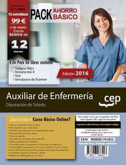 PACK AHORRO BÁSICO. Auxiliar de Enfermería. Diputación de Toledo (Incluye Temario Vol. I. y II, Test y Simulacros de examen + Curso BÁSICO Online valorado en 79€)