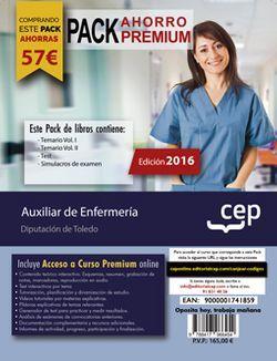 PACK AHORRO PREMIUM. Auxiliar de Enfermería. Diputación de Toledo (Incluye Temario Vol. I. y II, Test y Simulacros de examen + Curso PREMIUM Online 6 meses)