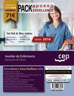 PACK AHORRO EXCELLENCE. Auxiliar de Enfermería. Diputación de Toledo (Incluye Temario Vol. I. y II, Test y Simulacros de examen + Curso EXCELLENCE Online)