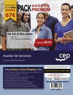 PACK AHORRO PREMIUM. Auxiliar de Servicios (personal laboral). Comunidad de Madrid (Incluye Temario, Test y Simulacros de examen + Curso Premium 6 meses)