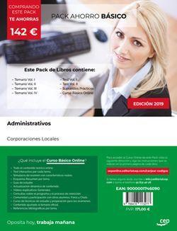 PACK AHORRO BÁSICO. Administrativos de Corporaciones Locales (Incluye Temario Vol. I, II y III, Test y Supuestos Prácticos + Curso BÁSICO Online)