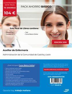 PACK AHORRO BÁSICO. Auxiliar de Enfermería. Administración de la Comunidad de Castilla y León (Incluye Temario Vol.I y II y Test + Curso BÁSICO Online)
