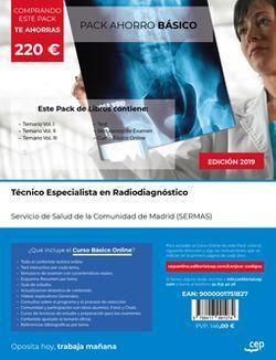 PACK AHORRO BÁSICO. Técnico Especialista en Radiodiagnóstico. Servicio de Salud de la Comunidad de Madrid (SERMAS). (Incluye Temario Vol. I, II y III, Test y Simulacros de examen + Curso BÁSIC Online valorado en 186€)