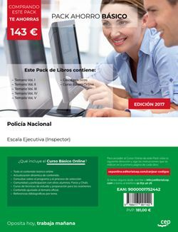 PACK AHORRO BÁSICO. Policía Nacional. Escala Ejecutiva (Inspector) (Incluye Temario Vol. I, II, III, IV y V, Casos Prácticos + Curso Básico Online)